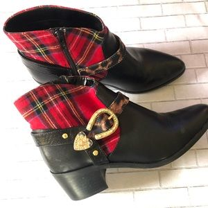 Betsy Johnson ankle boot with plaid upper